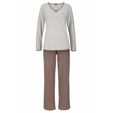 Große Größen: H.I.S Gestreifter Pyjama mit leicht ausgestelltem Hosenbein, taupe+creme, Gr.40/42-56/58