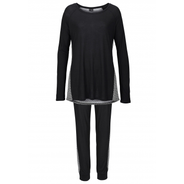 Große Größen: Pyjama, schwarz bedruckt, Gr.40/42-56/58