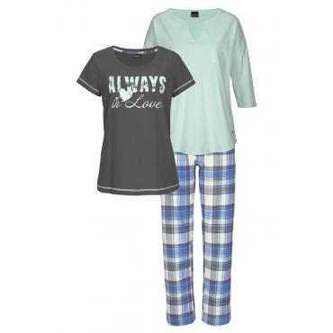 Große Größen: Arizona Pyjama-Set (3 Stück) mit karierter Hose, mint+anthrazit, Gr.40/42-56/58