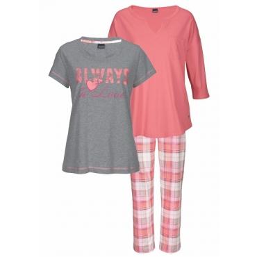 Große Größen: Arizona Pyjamaset (3 Teile) mit karierter Hose, rosé+grau meliert, Gr.40/42-56/58