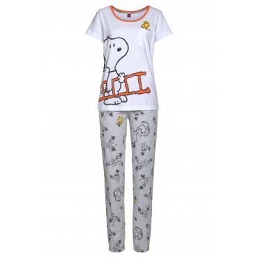 Große Größen: Pyjama, weiß-grau, Gr.40/42-56/58