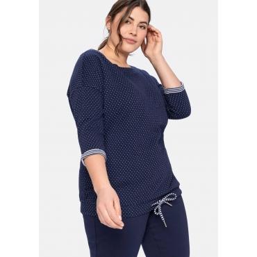 Relax-Sweatshirt in Double-Face-Verarbeitung, marine gemustert, Gr.40/42-52/54