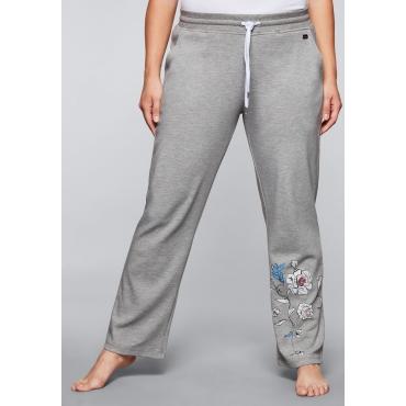 Große Größen: Relaxhose mit geradem Bein, grau meliert bedruckt, Gr.44-58