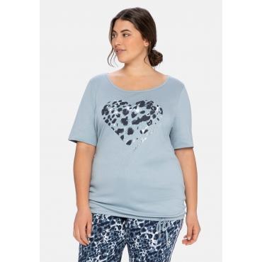 Relaxshirt mit Frontdruck und Saumbändchen, hellblau, Gr.40/42-56/58