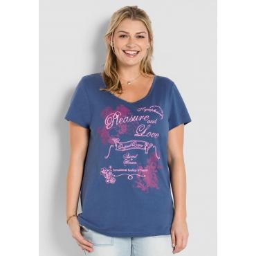 Große Größen: Romantisches Shirt, rauchblau, Gr.40/42-56/58