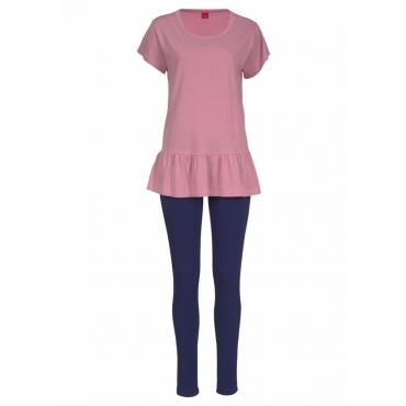 Große Größen: s.Oliver RED LABEL Bodywear Pyjama mit Shirt mit Volant und Legging, marine-rosé, Gr.44/46-56/58