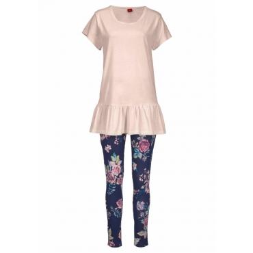 Große Größen: s.Oliver RED LABEL Bodywear Pyjama mit Shirt mit Volant und Legging, mauve-nachtblau, Gr.44/46-56/58