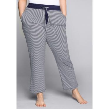 Große Größen: Schlafanzughose mit garngefärbten Streifen, marine-weiß, Gr.44-58