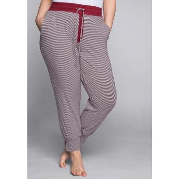 Große Größen: Schlafanzughose mit Streifen und Bündchen, rot-weiß, Gr.44-58