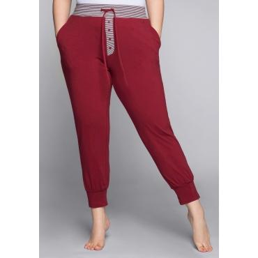 Große Größen: Schlafanzughose mit Streifen und Bündchen, rubinrot, Gr.44-58