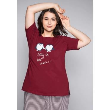 Große Größen: Schlafanzugshirt mit Halbarm und rundem Ausschnitt, rubinrot, Gr.44/46-56/58