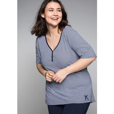 Große Größen: Schlafanzugshirt mit Halbarm und Zierknopfleiste, marine-weiß, Gr.44/46-56/58
