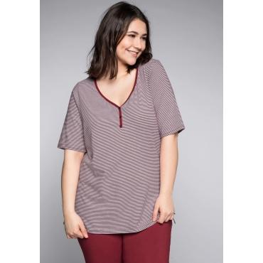 Große Größen: Schlafanzugshirt mit Halbarm und Zierknopfleiste, rot-weiß, Gr.44/46-56/58