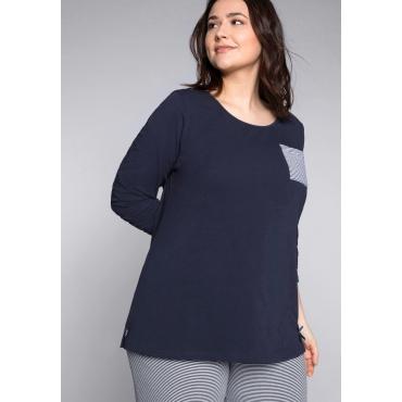 Große Größen: Schlafanzugshirt mit Seitenschlitzen und rundem Ausschnitt, marine, Gr.44/46-56/58