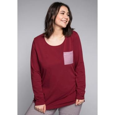 Große Größen: Schlafanzugshirt mit Seitenschlitzen und rundem Ausschnitt, rubinrot, Gr.44/46-56/58
