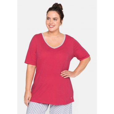 Große Größen: Schlafanzugshirt mit V-Ausschnitt, flamingo, Gr.44/46-56/58