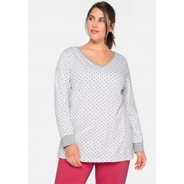 Große Größen: Schlafanzugshirt  mit V-Ausschnitt und Herzchenprint, grau meliert bedruckt, Gr.44/46-52/54