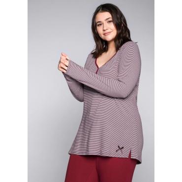 Große Größen: Schlafanzugshirt mit V-Ausschnitt und Streifen, rot-weiß, Gr.44/46-56/58