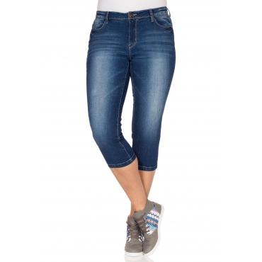 Große Größen: Schmale Capri-Jeans, dark blue Denim, Gr.40-58