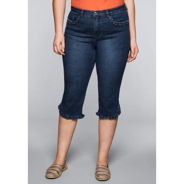 Große Größen: Schmale Capri-Stretch-Jeans mit Rüschen, dark blue Denim, Gr.44-58
