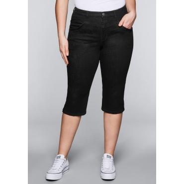 Große Größen: Schmale Capri-Stretch-Jeans mit Stickerei, black Denim, Gr.44-58