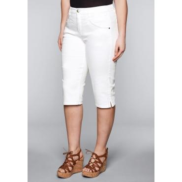 Große Größen: Schmale Capri-Stretch-Jeans mit Stickerei, white Denim, Gr.44-58