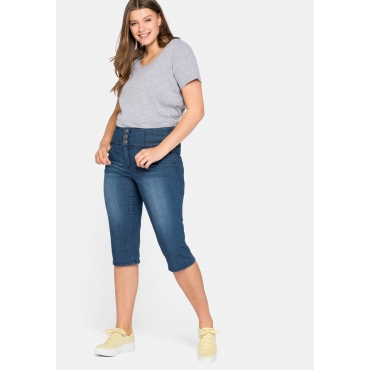 Schmale High-Waist-Jeans in Caprilänge, blue Denim, Gr.44-58