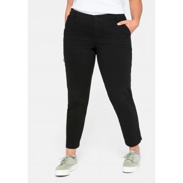 Schmale Hose mit Seitenschlitzen und Taschen, schwarz, Gr.44-58