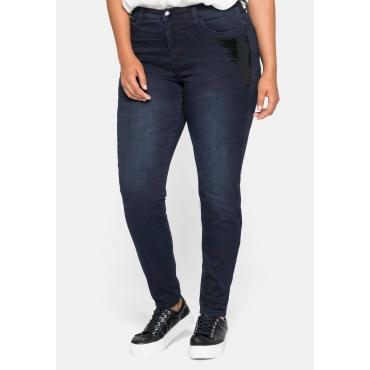 Schmale Jeans in 5-Pocket-Form, mit Pailletten verziert, blue black Denim, Gr.44-58
