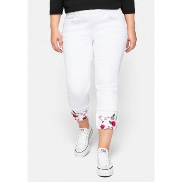 Schmale Jeans mit fixiertem Aufschlag und Blütenstickerei, white Denim, Gr.44-58
