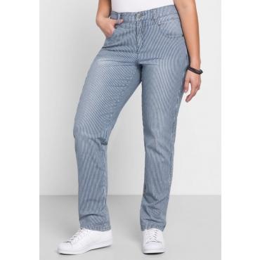 Große Größen: Schmale Jeans KIRA mit garngefärbten Streifen, blue Denim, Gr.40-58