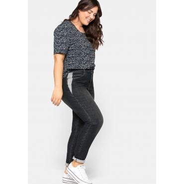 Schmale Jeans mit Kontrasteinsätzen an den Taschen, black Denim, Gr.44-58