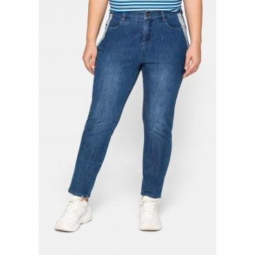 Schmale Jeans mit Kontrasteinsätzen an den Taschen, blue Denim, Gr.44-58