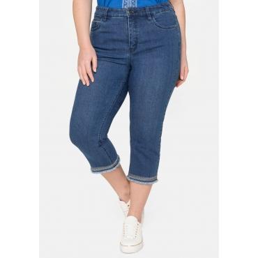 Schmale Jeans mit Stickereien am Saum, in 3/4-Länge, blue Denim, Gr.40-58