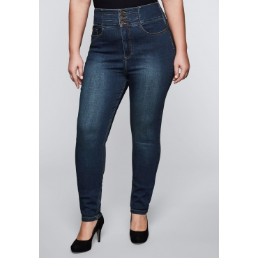 Große Größen: Schmale Power Stretch-Jeans mit Push-up-Effekt, dark blue Denim, Gr.44-58