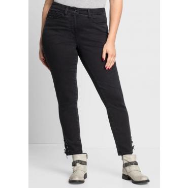 Große Größen: Schmale Power-Stretch-Jeans mit Schnürung, black Denim, Gr.44-58