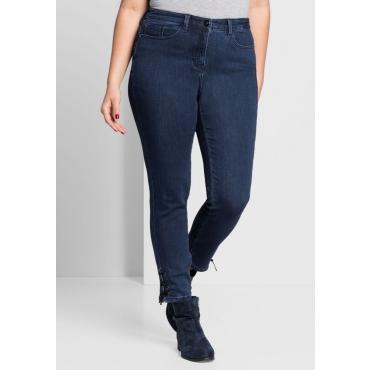 Große Größen: Schmale Power-Stretch-Jeans mit Schnürung, blue Denim, Gr.44-58