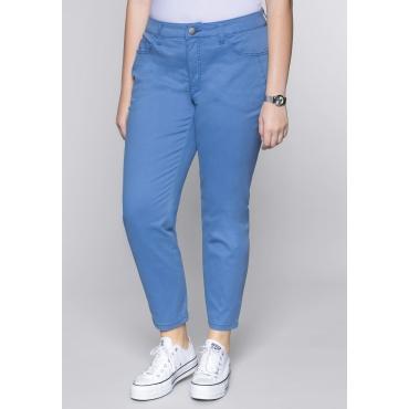 Große Größen: Schmale Stretch-Hose mit Taschen und Stickerei, azurblau, Gr.44-58