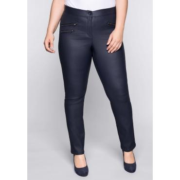 Große Größen: Schmale Stretch-Hose mit glänzender Beschichtung, marine, Gr.44-58