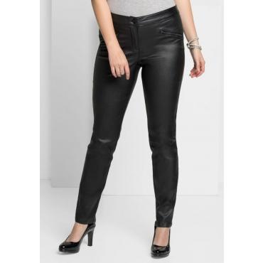 Große Größen: Schmale Stretch-Hose mit glänzender Beschichtung, schwarz, Gr.40-58