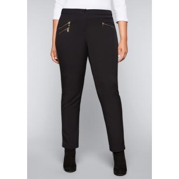Große Größen: Schmale Stretch-Hose mit goldenem Zierband, schwarz, Gr.44-58