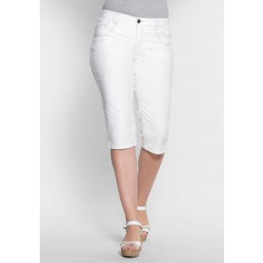 Große Größen: Schmale Stretch-Jeans-Capri, white Denim, Gr.40-58