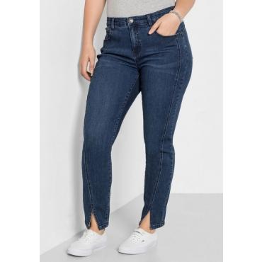 Große Größen: Schmale Stretch-Jeans in Ankle-Länge, dark blue Denim, Gr.40-58