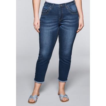 Große Größen: Schmale Stretch-Jeans in Knöchellänge, blue Denim, Gr.44-58