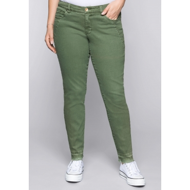 Große Größen: Schmale Stretch-Jeans KIRA in Coloured Denim, khaki, Gr.44-58
