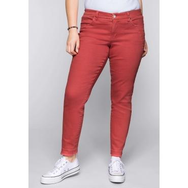 Große Größen: Schmale Stretch-Jeans KIRA in Coloured Denim, melone, Gr.44-58
