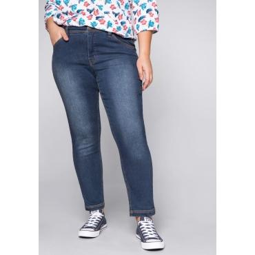 Große Größen: Schmale Stretch-Jeans KIRA mit Kontraststeppung, blue Denim, Gr.44-58