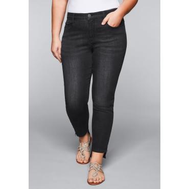 Große Größen: Schmale Stretch-Jeans KIRA mit Lyocell, black Denim, Gr.44-58