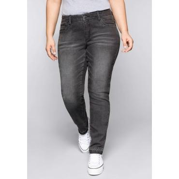 Große Größen: Schmale Stretch-Jeans KIRA mit offenem Saum, grey Denim, Gr.44-58