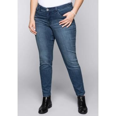 Große Größen: Schmale Stretch-Jeans KIRA mit recyceltem Polyester, dark blue Denim, Gr.44-58